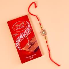 Designer Rakhi Set With Lindt Chocolates For UK