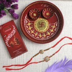 Ethnic Rakhi Set Trishul & Shree with Puja Thali Lindt Chocolate For UK