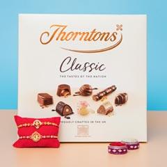 Om & Ganesha Rakhi Set with Chocolates Hamper For UK