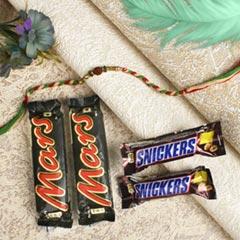 Traditional Rudraksha Rakhi with Chocolate Bars For UK