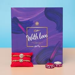 Alluring Rakhi Set Chocolate Hamper For UK