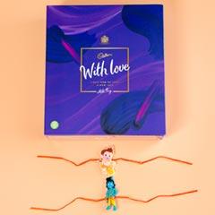 Bal Hanuman & Krishna Kids Rakhis with Cadbury Chocolate Box For UK