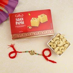 Kundan Diamond Rakhi with Sweet & Cashew Nuts For UK