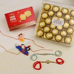 Designer Family Rakhi Set With Sweet & Chocolate Hamper For UK