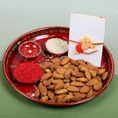 Kids Ganesha Rakhi with Dry Fruit & Puja Thali For UK