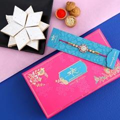 American Diamond Floral Rakhi And Kaju Katli - Send Rakhi to Dubai