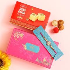 American Diamond Floral Rakhi And Soan Papdi - Send Rakhi to Dubai