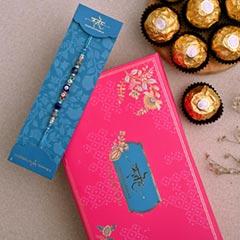 Auspicious Evil Eye Designer Rakhi And 3 Pcs Ferrero Rocher - Send Rakhi to Dubai
