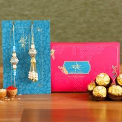Blue Orb Pearl And Lumba Rakhi Set With 3 Pcs Ferrero Rocher