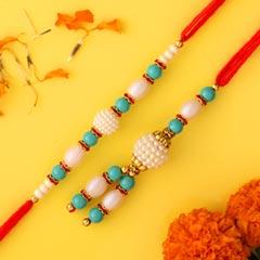 Blue Pearl And Lumba Rakhi Set