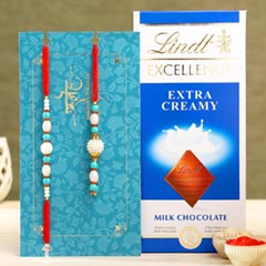 Blue Pearl And Lumba Rakhi Set With Lindt