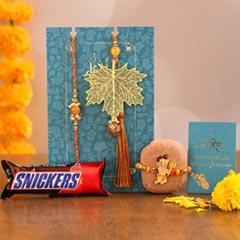 Maple Leaf Lumba Rakhi Set & Kids Rakhi With Snickers