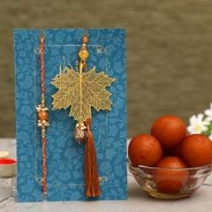 Maple Leaf Lumba Rakhi Set & Gulab Jamun Tin