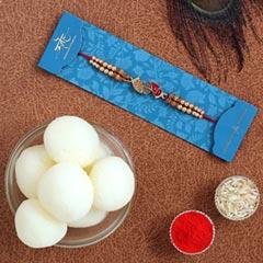 Red Peacock Designer Rakhi & Rasgulla Tin - Send Rakhi to UAE