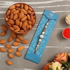 Elegant Pearl Mauli Rakhi And Healthy Almonds
