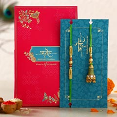 Ethnic Green Pearl And Lumba Rakhi Set