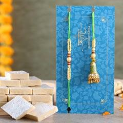 Ethnic Green Pearl And Lumba Rakhi Set With Kaju Katli