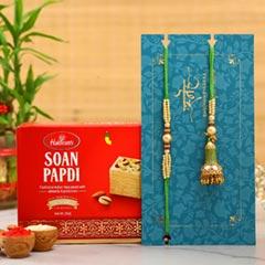Ethnic Green Pearl And Lumba Rakhi Set With Soan Papdi