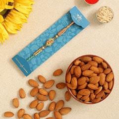 Ethnic Leaf Pearl Designer Rakhi And Healthy Almonds