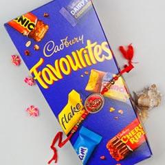 Ganpati Rakhi With Cadbury Favourites Pack